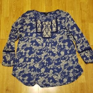 Lucky Brand XL floral embroidered tunic top